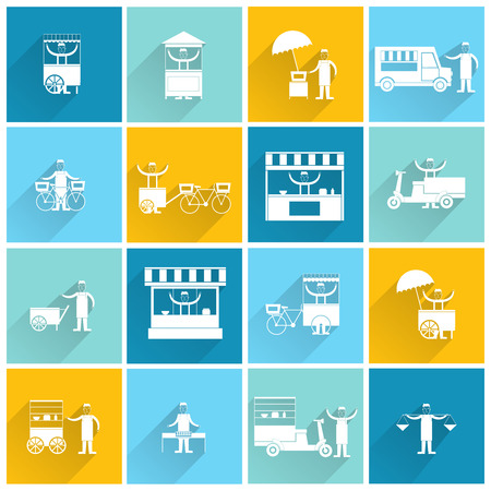 Street fast takeout food stall and standing people icon flat white set isolated vector illustration