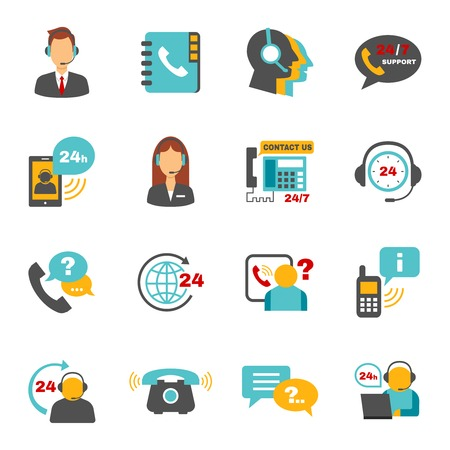 Neem contact met ons 24 uur support call center service flat pictogrammen die met exploitant hoofdtelefoon abstracte vector geïsoleerde illustratie