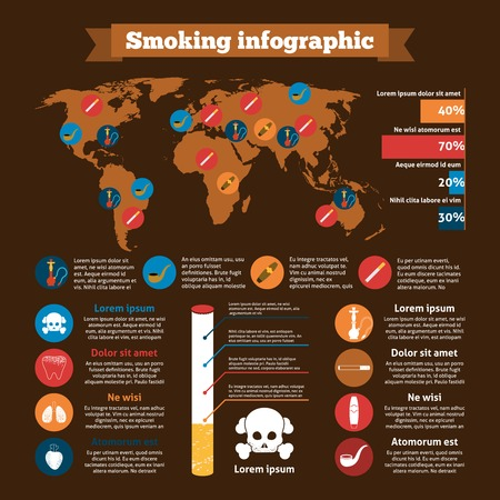 tobacco product: Smoking infographics set with addiction design elements charts and world map vector illustration