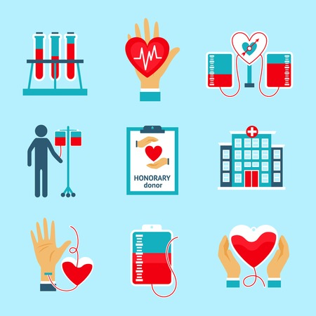 clean blood: Donor icons set with blood donation lifesaving hospital assistance symbols isolated vector illustration Illustration