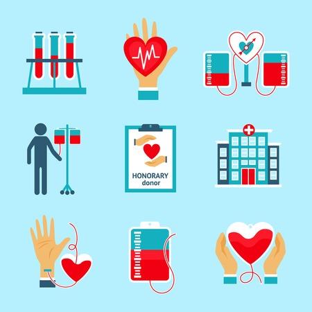 salvavidas: Iconos donantes establecieron con la donaci�n de sangre para salvar vidas s�mbolos de asistencia hospitalaria ilustraci�n vectorial aislado Vectores
