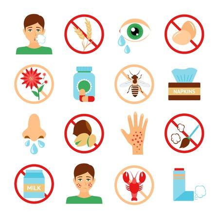 Icônes d'allergie fixés avec des symboles poussière abeille fleur de contaminants isolé illustration vectorielle Banque d'images - 35030882