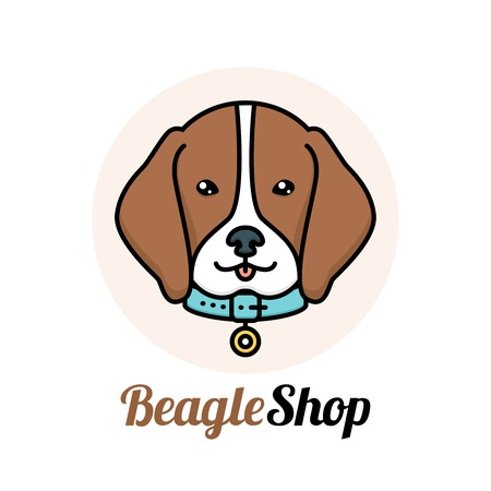 pet services: Beagle dog portrait with collar shop veterinary service logo vector illustration
