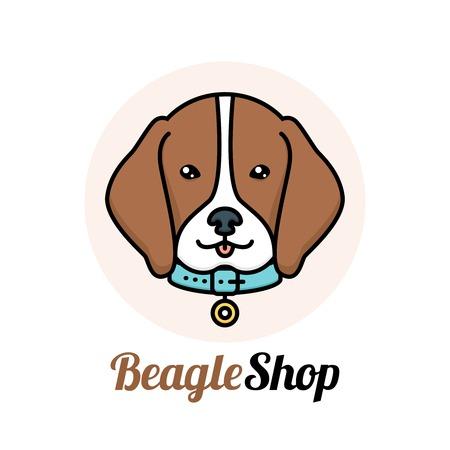 Beagle dog portrait with collar shop veterinary service logo vector illustration