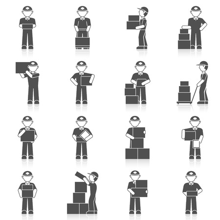 delivery package: Delivery man freight merchandise postage black icon set isolated vector illustration