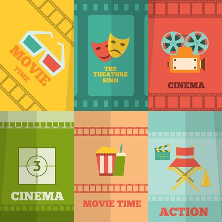 Cinema movie action film tickets snacks glasses retro symbols six flat icons composition abstract isolated vector illustration Illustration
