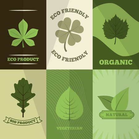 linden: Green clover trefoil leaves organic natural bio products labels six flat icons composition abstract isolated vector illustration