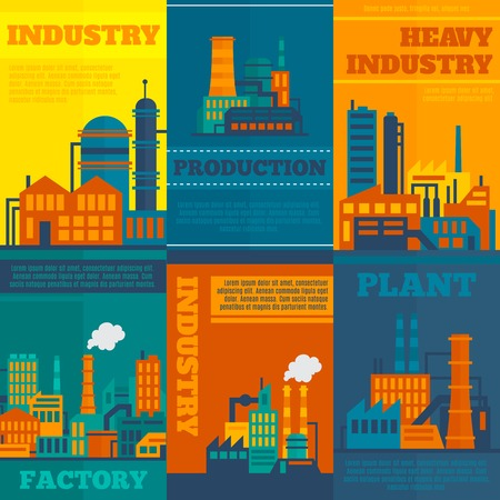 industrial construction: Factory building industry and technology concept with manufactory and industrial icons vector illustration