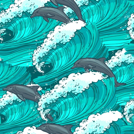 Waves flowing water sketch sea ocean and dolphins colored seamless pattern vector illustration Illustration