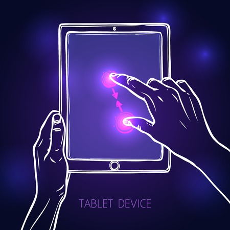 mouse pad: Hand holding tablet portable device and tap pinch gesture sketch on dark background vector illustration