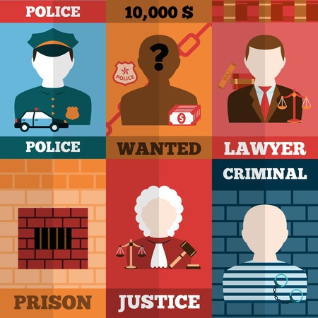 punishment: Crime and punishment mini poster set with police lawyer prison justice criminal isolated vector illustration