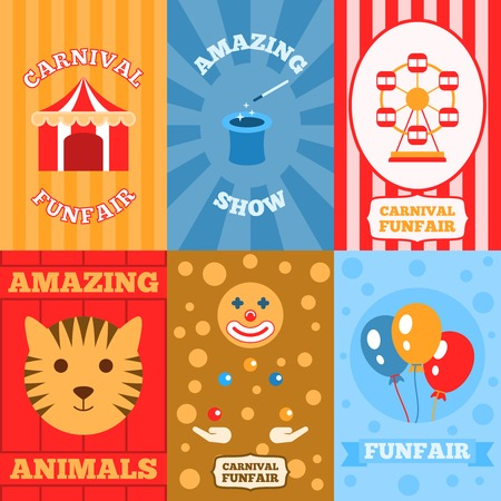 Amusement park mini poster set with carnival funfair amazing show animals isolated vector illustration