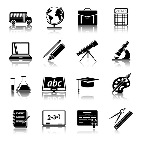 spotter: College education black icons pictograms set with school bus chalkboard paint palette graduation cap isolated vector illustration