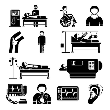 monitoring system: Healthcare medical heart pacemaker artificial kidney dialyze system monitoring technology graphic icons collection abstract isolated vector illustration