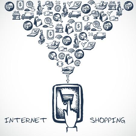 boceto: Internet concepto de compras de comercio electr�nico con dispositivo de tableta t�ctil de la mano boceto e iconos decorativos ilustraci�n vectorial