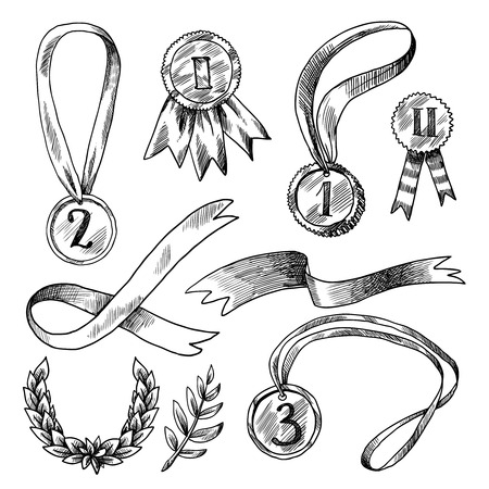 Award decorative icons set of trophy medal winner prize laurel wreath isolated vector illustration Vector