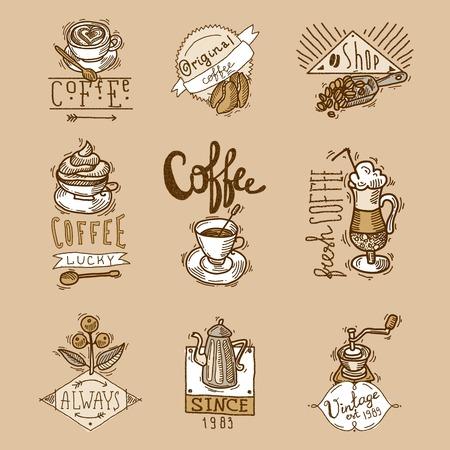 coffee bag: Coffee cuos vintage original espresso sketch labels set isolated vector illustration Illustration