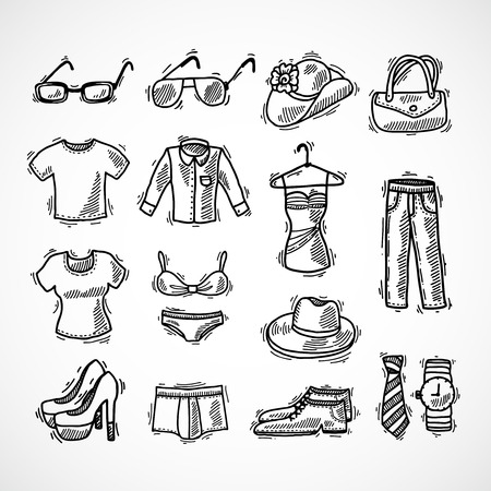 dress sketch: Fashion decorative icons set with glasses hat bag dress sketch isolated vector illustration