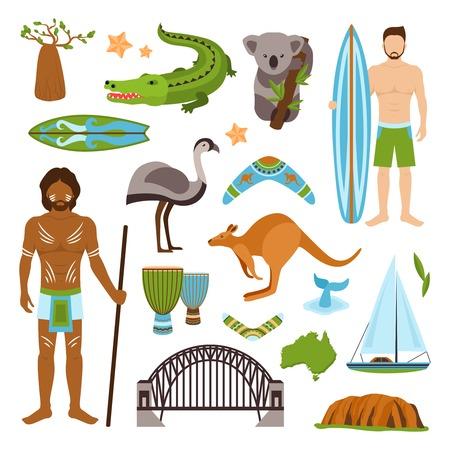 Australië toerisme natuur en cultuur pictogrammen die met krokodil jacht kangoeroe geïsoleerde vector illustratie Stock Illustratie