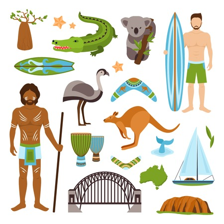 emu: Australia tourism nature and culture icons set with crocodile yacht kangaroo isolated vector illustration