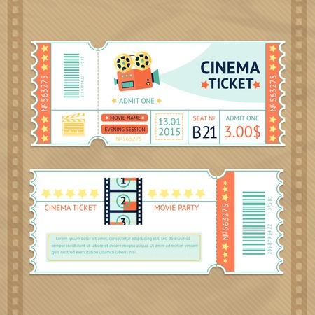 camara de cine: Billete de papel partido de la pel�cula Cine retro de conjunto aislado ilustraci�n vectorial