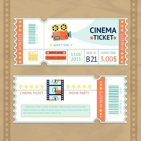 film projector: Retro cinema movie party paper ticket set isolated vector illustration