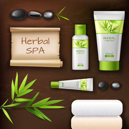 balsam: Natural herbal spa cosmetic realistic packages set with stones and towels vector illustration Illustration