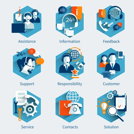 apoyo social: Concepto de servicio al cliente de establecer con los iconos decorativos asistencia de retroalimentación de información aislados ilustración vectorial