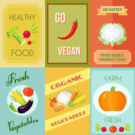 mini farm: Healthy food vegan and vegetarian mini poster set with farm fresh vegetables isolated vector illustration