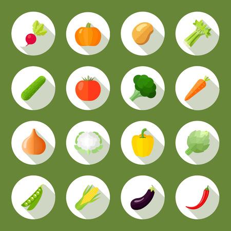 Groenten pictogrammen platte set met geïsoleerd radijs pompoen aardappel selderij vector illustratie