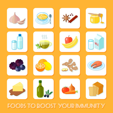 immunity: Healthy food that boost your immunity icons flat set isolated vector illustration