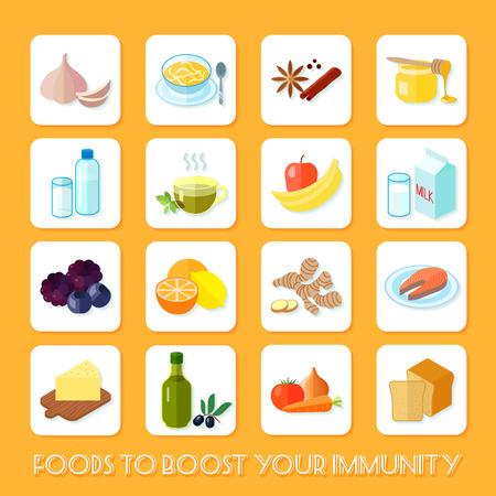 inmunidad: La comida sana que a aumentar su inmunidad iconos plana conjunto aislado ilustración vectorial Vectores