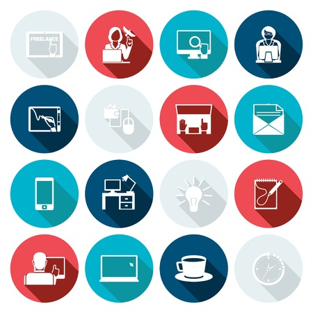 freelance: Freelance icon flat set with time management working plan elements isolated vector illustration