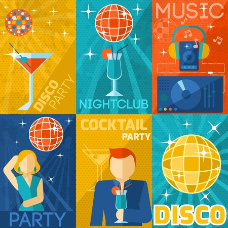 party dj: Night club poster mini set with disco cocktail party music isolated vector illustration Illustration