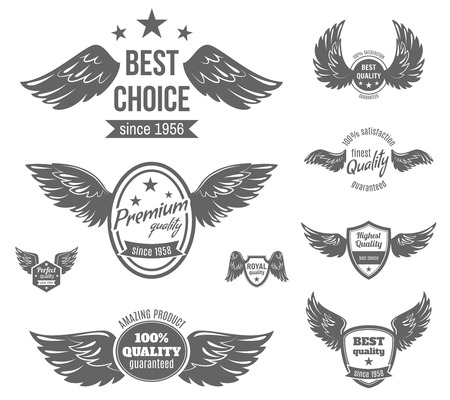 eagle badge: Wing black label best choice premium perfect royal quality guaranteed set isolated vector illustration