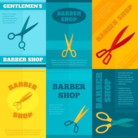 shear: Barber shop professional equipment mini poster set isolated vector illustration Illustration