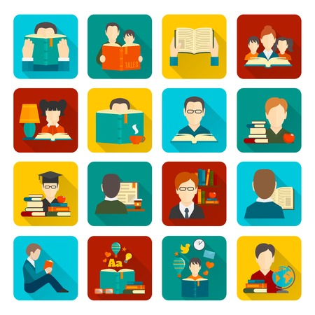 libraries: People reading books flat icons collection set isolated vector illustration