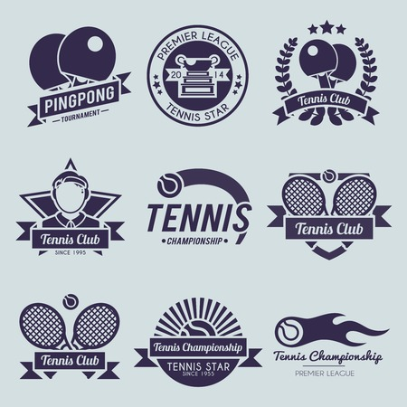Tennis competition ping pong sport premiere league label black set isolated vector illustration