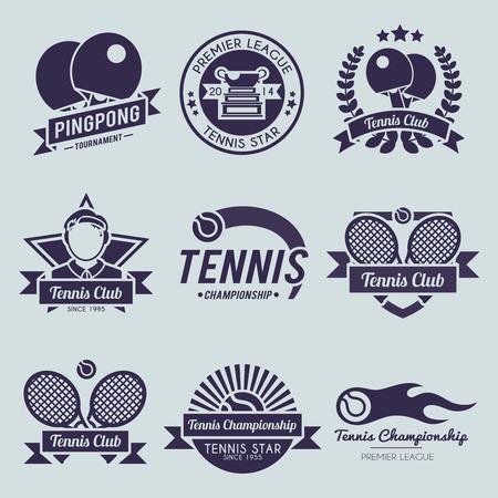 pingpong: Ilustración vectorial aislado etiqueta liga de ping pong deporte estreno competencia Tenis conjunto negro Vectores