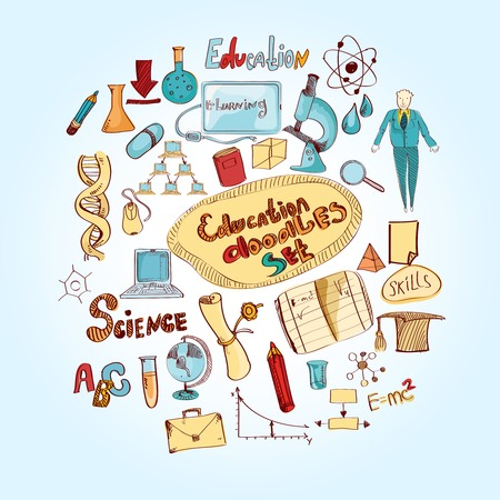 educational subject: Education doodle colored set with science graduation diploma university and school college knowledge vector illustration