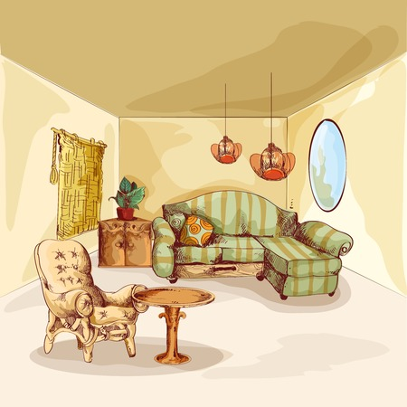 poster bed: Living room interior sketch background with armchair sofa mirror and table vector illustration