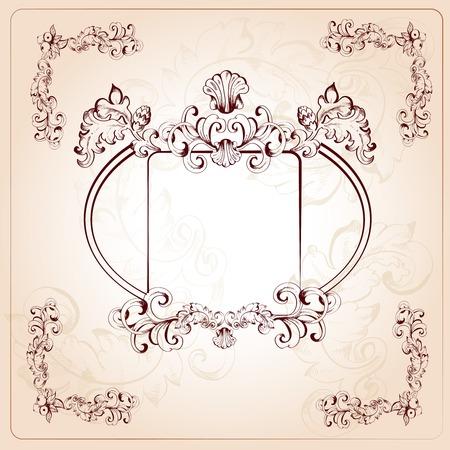 title hands: Vintage decorative leaf and branches floral ornaments sketch background vector illustration