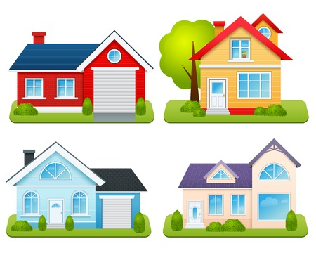 Private houses family town apartments village cottages emblems set isolated vector illustration Ilustrace