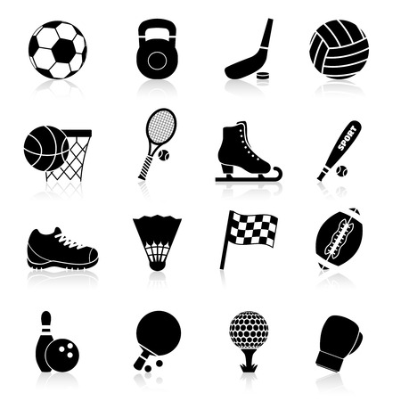 professional equipment: Sport icons black set with basketball rugby baseball hockey professional equipment isolated vector illustration
