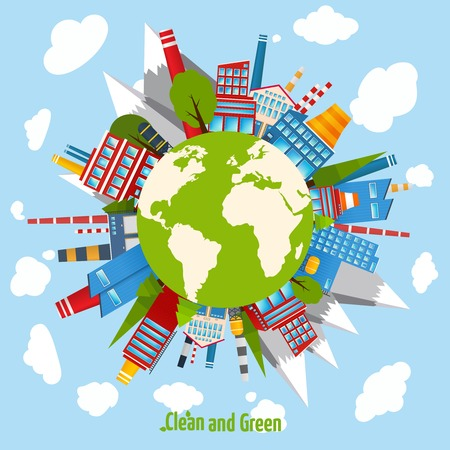 clean energy: Clean and green energy concept with industrial buildings around the globe vector illustration Illustration