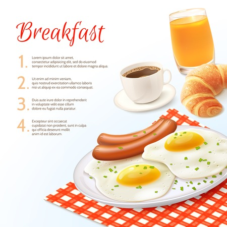orange juice glass: Breakfast food background with realistic coffee cup orange juice glass croissant fried eggs and with sausage vector illustration Illustration