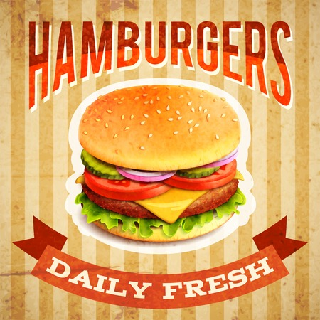 american cuisine: Fast food restaurant poster with beaf meat hamburger emblem vector illustration
