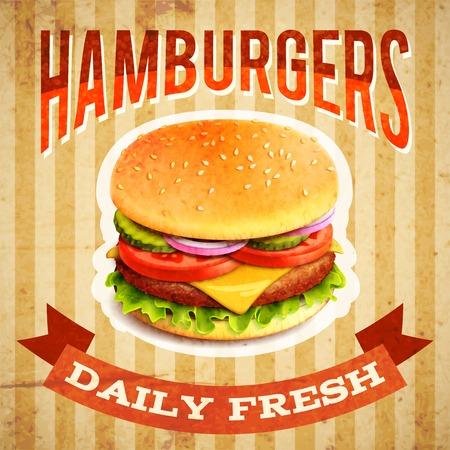 hamburguesa: Restaurante de comida r�pida cartel con la hamburguesa de carne beaf emblema ilustraci�n vectorial