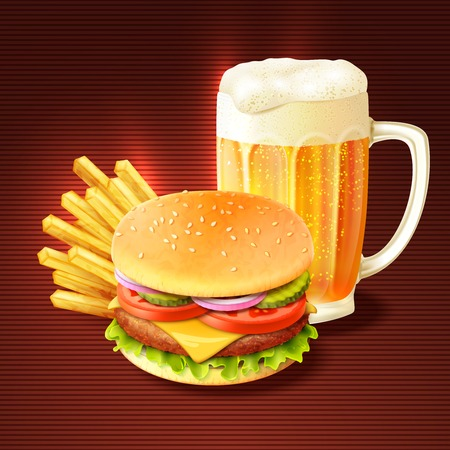 Hamburger french fries and beer glass mug realistic background vector illustration