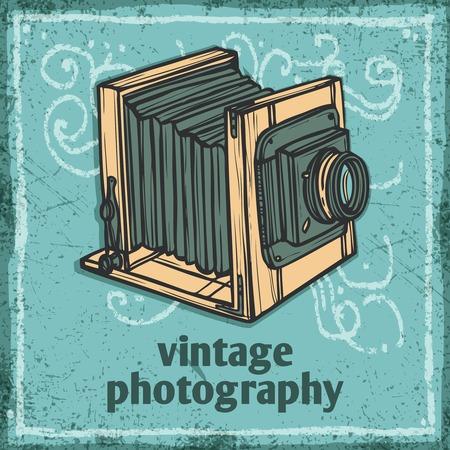предмет коллекционирования: Ретро фотоаппарат старинные фотографии эскиз плаката векторные иллюстрации Иллюстрация